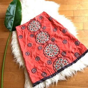 Anthropologie fei sz 2 boho embroidery skirt